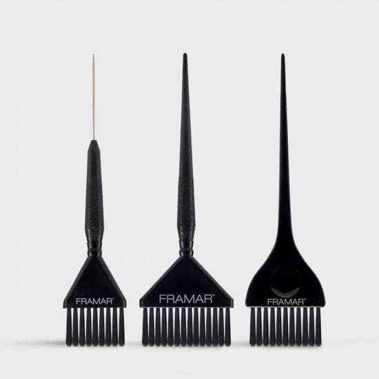 Framar Çok Fonksiyonlu 3Lü Siyah Fırça Seti