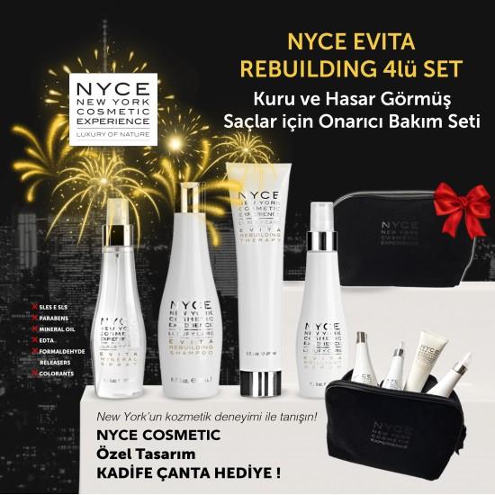 NYCE Kuru ve Hasar Görmüş Saçlar için Onarıcı 4lü Bakım Seti ve Kozmetik kadife çanta